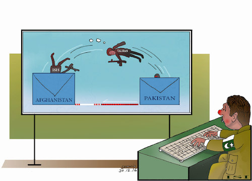 Cartoon: PAKISTAN ISI SENDING VIRUS ! (medium) by Shahid Atiq tagged trump,afghanistan,safi,shahid,bahar,ieba,rayian,isi,pakistan,kabul