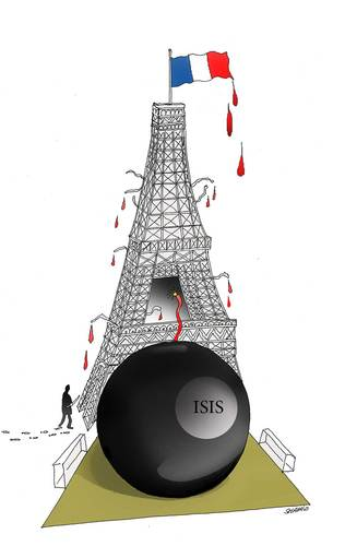 Cartoon: Paris Aattack (medium) by Shahid Atiq tagged afghanistan,kabul,terrorism,taliban
