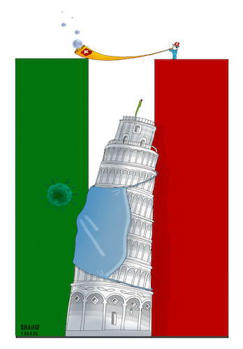 Cartoon: Pray for Italy and World ! (medium) by Shahid Atiq tagged world