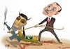 Cartoon: Hekmatyar to fight for Azerbaija (small) by Shahid Atiq tagged afghanistan
