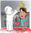 Cartoon: Pope in Myanmar ! (small) by Shahid Atiq tagged myanmar
