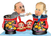 Cartoon: Russia and Turkey Ties (small) by Shahid Atiq tagged afghanistan,kabul,syria,iran,switzerland,schweiz,usa,france,football,safi,cartooneu,uk,putin,erdogan,raiyan,shahid