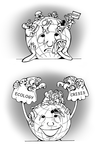 Cartoon: how to calm them down? (medium) by gonopolsky tagged earth,crisis,ecology