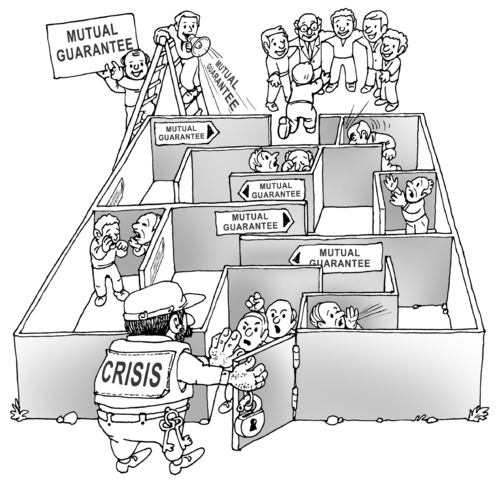 Cartoon: the maze (medium) by gonopolsky tagged crisis,mutual,aid