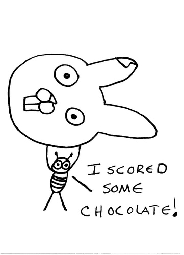 Cartoon: Gross But Cute (medium) by Deborah Leigh tagged ant,easter,chocolate,bw,bunny,rabbit