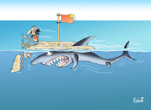 Cartoon: shark motor (medium) by llobet tagged shark,shipwrecked,naufrago,motor,ocean,meer,sea,mar