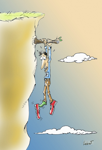 Cartoon: Shoes to the edge (medium) by llobet tagged edge,shoes,precipice