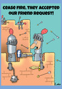 Cartoon: Funny facebook Friends cartoon (small) by The Nuttaz tagged military,war,facebook,internet,friends,networking,battle,castle,soldier,surrender