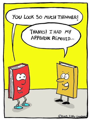 Cartoon: appendix (medium) by sardonic salad tagged books,appendix,weight,loss