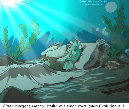 Cartoon: Pubertät (medium) by Zapp313 tagged evolution,pubertät,fisch,fuß,wasser,meer