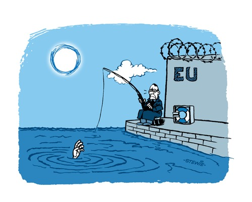 Cartoon: Fishing in troubled water (medium) by stewie tagged eu,refugees,fish