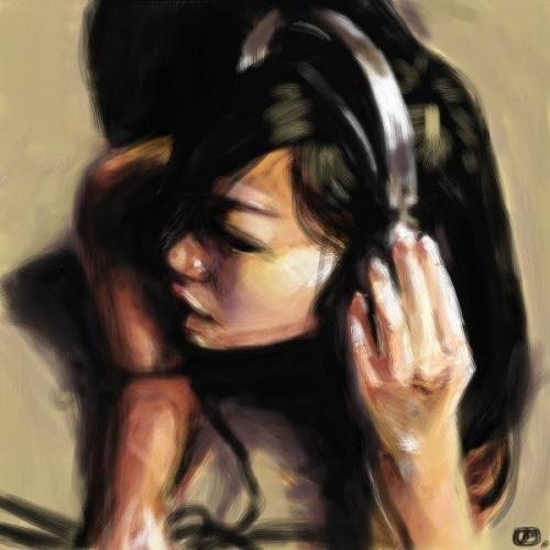 a cartoon girl listening to music