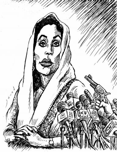 Cartoon: Bhutto victim of democracy (medium) by javad alizadeh tagged benazir,bhutto,