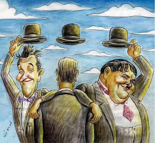 Cartoon: Favorite comedians of Magritte (medium) by javad alizadeh tagged laurel,hardy,magritte,