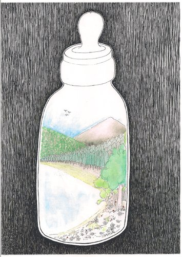 Cartoon: feeding bottle (medium) by ercan baysal tagged humor,art,dirtiness,milk,black,ercanbaysal,nature,sky,tree,water,air,nipple