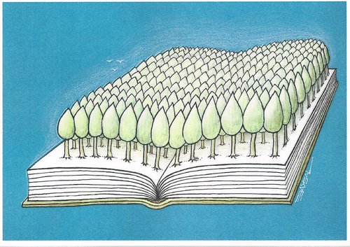 Cartoon: forest and book (medium) by ercan baysal tagged education,ercanbaysal,art,cartoon,literature,kitap,humour,exlibris,culture,tree,forest,book