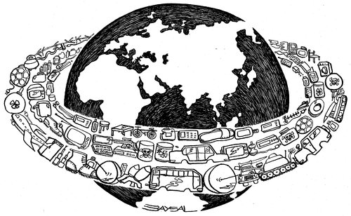 Cartoon: Global (medium) by ercan baysal tagged industrialization,ercanbaysal,line,ink,ecological,black,logo,white,sketch,study,greetngs,pencil,pen,form,favorite,vision,image,draw,picture,job,good,trade,astronomy,lie,cartoons,design,space,chip,global,grafik