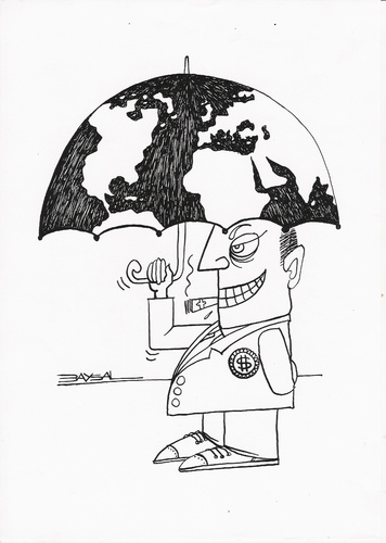 Cartoon: Global (medium) by ercan baysal tagged money,exploitation,ercanbaysal,ink,line,umbrella,politics,man,white,black,logo,symbol,tattoo,depict,form,opinion,vision,pencil,image,picture,create,daydream,fantasy,job,good,dollar,euro,politico,cartoons,rich,capitalist