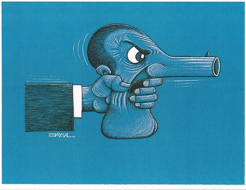 Cartoon: weapon and man (medium) by ercan baysal tagged fear,eye,portrait,man,ercanbaysal,logo,grotesk,absurd,character,artwork,work,art,newspaper,magazine,favorite,greetngs,create,handmade,mann,ilustration,terror,pistol,blue,humor,cartoons
