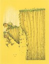 Cartoon: Fall (small) by ercan baysal tagged fall,cliff,man,recanbaysal,cartoon,handmade,vision,picture,image,figure,fantasy,daydream,humour,satire,grotesk,illustration,türkiye,turkey,yellow,earth,landslide