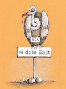 Cartoon: Middle East (small) by ercan baysal tagged middleeast,usa,vulture,blood,east,war,peace,imperialism,opportunist,diplomacy,dead,healt,bird