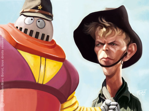 Cartoon: Bowie and the Boss Borot (medium) by jmborot tagged bowie,furyo,boss,borot,caricature,jmborot