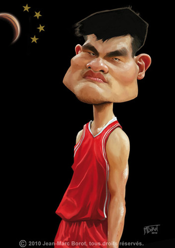 Cartoon: Yao Ming (medium) by jmborot tagged yao,ming,basketball,caricature,jmborot