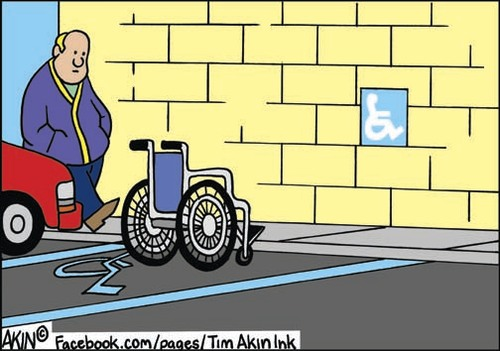 Cartoon: Handi parked (medium) by Tim Akin Ink tagged handicapped,parking