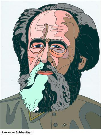 Cartoon: Alexander Solzhenitsyn (medium) by Alexei Talimonov tagged author,literature,books,alexander,solzhenitsyn