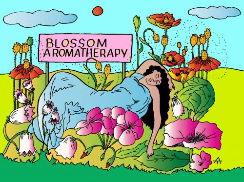 Cartoon: Blossom Aromatherapy (medium) by Alexei Talimonov tagged blossoms,plants,therapy,nature