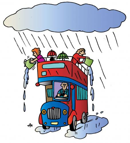 Cartoon: Bus In Rain (medium) by Alexei Talimonov tagged bus,rain,