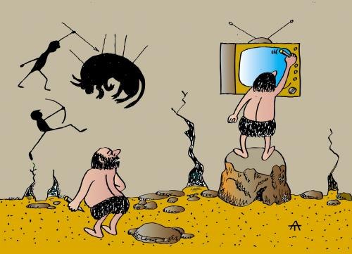 Cartoon: Early Vision (medium) by Alexei Talimonov tagged prehistory,tv,television