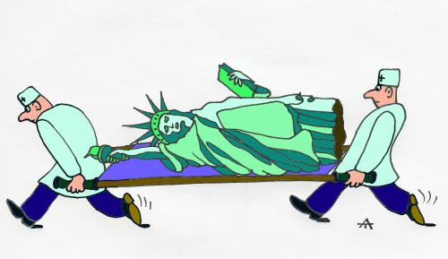 Cartoon: Emergency (medium) by Alexei Talimonov tagged statue,liberty,usa,new,york