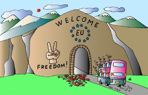 EU welcome By Alexei Talimonov | Politics Cartoon | TOONPOOL
