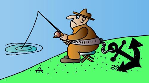 Cartoon fisherman fishing - photo#15