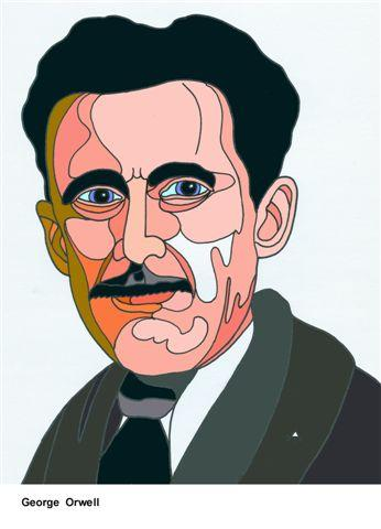 Cartoon: George Orwell (medium) by Alexei Talimonov tagged author,literature,books,george,orwell