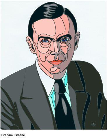 Cartoon: Graham Greene (medium) by Alexei Talimonov tagged author,literature,books,graham,greene