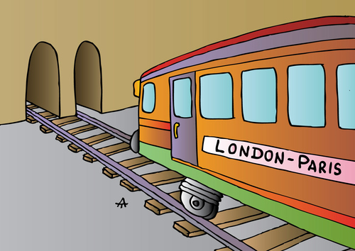 Cartoon: London-Paris (medium) by Alexei Talimonov tagged train,london,