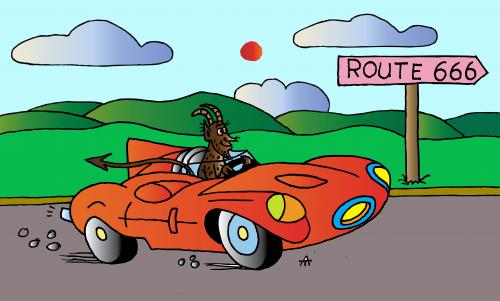 Cartoon: Route 666 (medium) by Alexei Talimonov tagged travelling,cars
