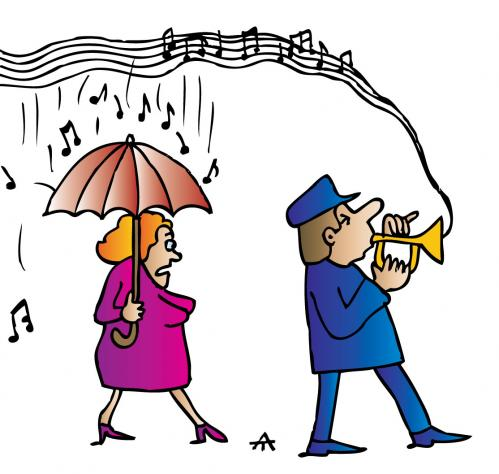 Cartoon: Singing In The Rain (medium) by Alexei Talimonov tagged music