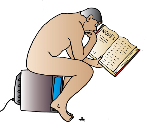 cartoon person reading a - photo #48