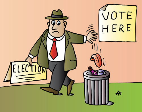 Cartoon: Vote here! (medium) by Alexei Talimonov tagged voting,election