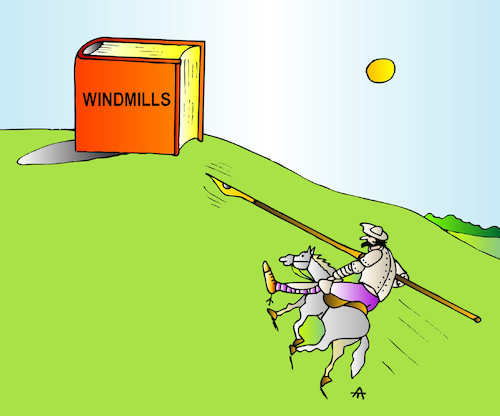 Cartoon: Windmills (medium) by Alexei Talimonov tagged literature