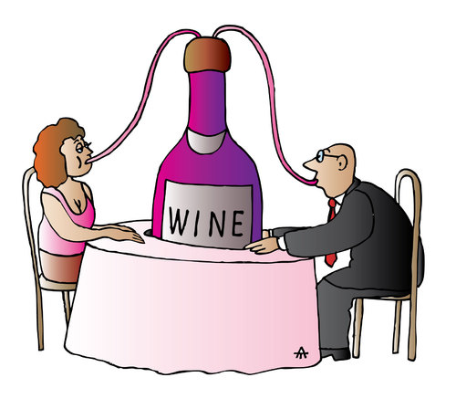 Cartoon: Wine (medium) by Alexei Talimonov tagged alcohol,drinking,wine