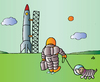 Cartoon: Astronaut and dog (small) by Alexei Talimonov tagged astronaut,and,dog,nature,space