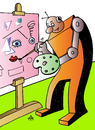 Cartoon: Robot Artist (small) by Alexei Talimonov tagged robot artist