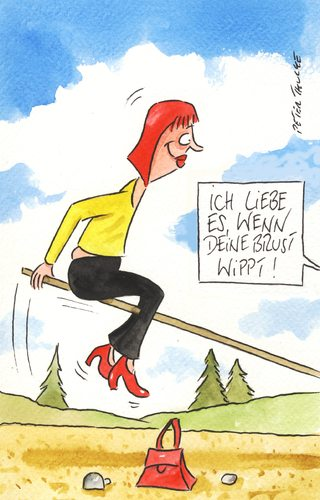 Cartoon: brust (medium) by Peter Thulke tagged no,liebe,partnerschaft,busen,wippe