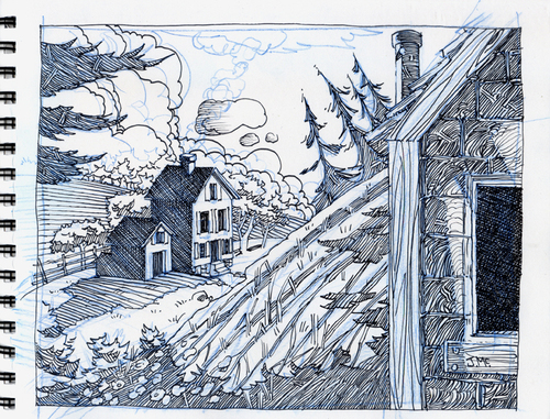 Cartoon: Cabin in the Woods (medium) by Cartoons and Illustrations by Jim McDermott tagged ink,woods,sketchbook,cabin