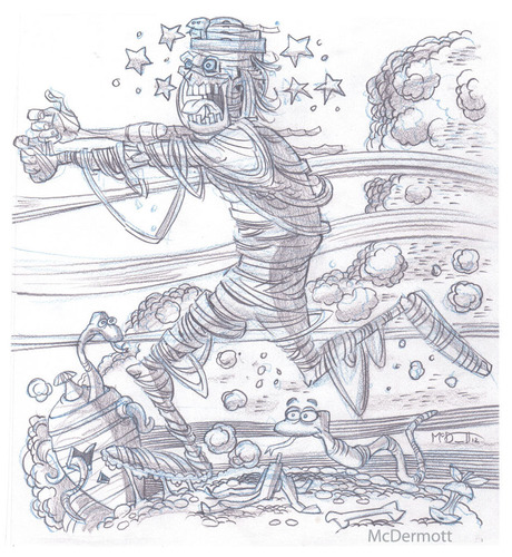 Cartoon: Mummy Running (medium) by Cartoons and Illustrations by Jim McDermott tagged mummys,scary,monsters,horror,pencilsketch
