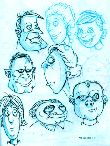 Cartoon: Sketchbook Faces (medium) by Cartoons and Illustrations by Jim McDermott tagged sketchbook,people,crowd,faces